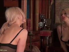 Black lingerie is stunning on a blonde milf videos