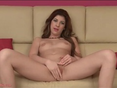 Golden finger nail polish is sexy on a solo girl movies at lingerie-mania.com