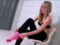 Skinny bianka brill shows off her pretty feet movies at lingerie-mania.com