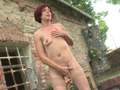 Old lady alone outdoors and masturbating her cunt videos