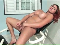 Shemale cock cums from sexy solo stroking movies at kilotop.com
