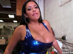 Skintight latex on curvy pornstar kiara mia movies at lingerie-mania.com
