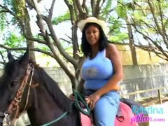 Big tits bounce as a sexy girl goes horseback riding videos