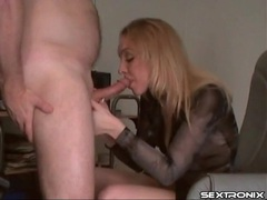 Sultry blonde blows the lucky guy during the work day videos