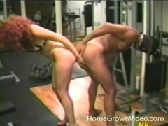 Hot redhead and a guy share a double dildo videos