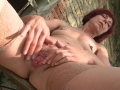 Pretty redhead mom has fun masturbating outdoors movies at find-best-babes.com