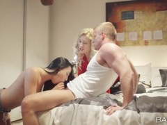 Blonde hottie joins a couple and sucks dick videos