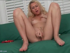 Solo blonde with a pierced tongue masturbates videos
