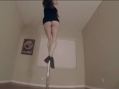 Lelu works the stripper pole in her bedroom movies at lingerie-mania.com