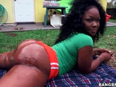 Black ghetto booty soaked in slippery oil videos