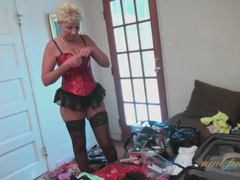 Granny tries on lingerie and slutty outfits for you movies at kilogirls.com
