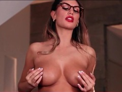 Secretary august ames strips from her satin blouse tubes