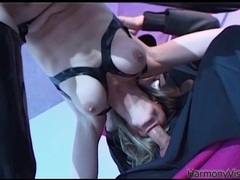 Hot blowjob from a slut in shiny black latex movies at kilomatures.com