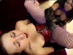 Lesbians in latex and lingerie have strapon sex movies at lingerie-mania.com