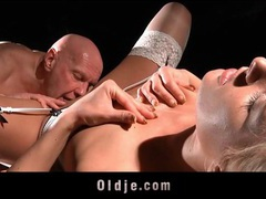Bald old guy fucks a girl in stockings movies at adipics.com