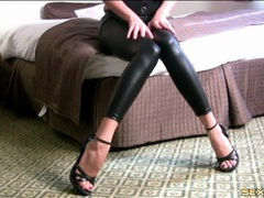 High heels and wet look leggings on a joi babe clip