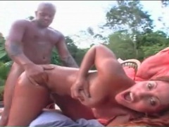 Big cock conquers her latina pussy outdoors movies at lingerie-mania.com