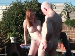 Teen redhead pounded outdoors by grandpa dick videos