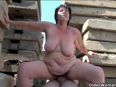Flabby old lady fucked outdoors videos
