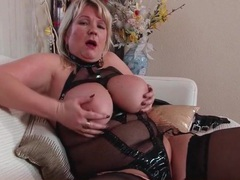 Kinky mesh lingerie on a busty mature babe videos
