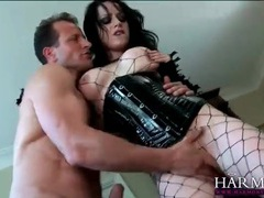 Sexy goth babe in a latex corset sucks his dick videos