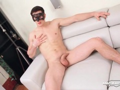Amateur gay hunk in a mask jerks off movies at lingerie-mania.com
