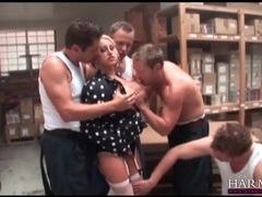 Warehouse workers gangbang a hot blonde slut movies at lingerie-mania.com