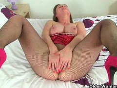 British milf april rips her tights for easy access movies at lingerie-mania.com