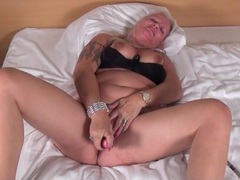 Black dildo fucks deep into her soaking wet pussy movies at lingerie-mania.com