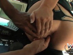Black cop finger fucks his sexy partner in the car videos