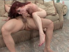 Wildly riding redhead on top with her sexy snatch videos