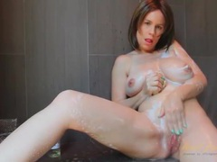 Busty mom gets clean and pisses in the shower movies at sgirls.net