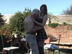 Young redhead with stunning tits blows grandpa movies