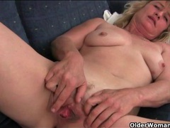 Cute old lady in a halter top gets finger banged videos