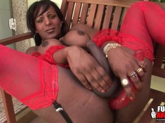 Black tranny in stockings toy bangs her asshole videos