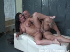 Fit mama rides rock hard cock in the locker room videos