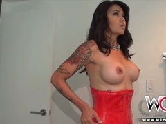 Housewife changes into sexy lingerie for her black lover clip