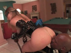 Kinky slut in sexy black latex sucks black cock videos