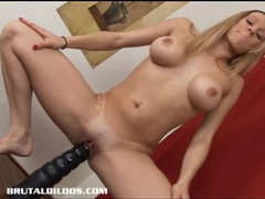Leggy blonde cums from riding a massive brutal dildo tubes