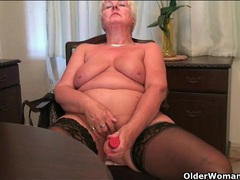Granny takes a break from work to fuck a toy videos