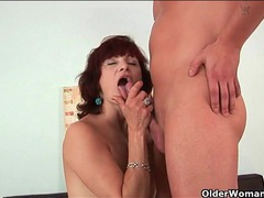 Classy mature redhead goes down on his dick movies