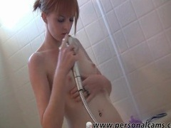 Teen washes her tight shaved pussy in the shower videos