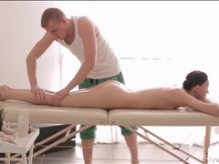 Skinny girl relaxes during an erotic massage videos