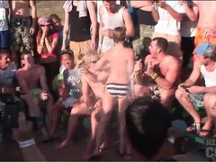 Babes get wet and topless at a spring break party videos