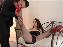 Her high heels and fishnet feet taste good videos