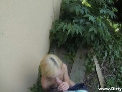 Slutty chick agrees to blow him in the bushes movies at lingerie-mania.com
