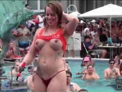 Topless girls dance at a pool party videos