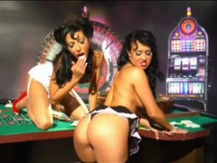 Pinup girls have lesbian sex in a casino videos