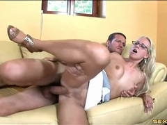 Blonde in sexy glasses fucked until he cums movies at adspics.com