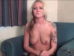 Coed in leopard print and jeans strips solo videos